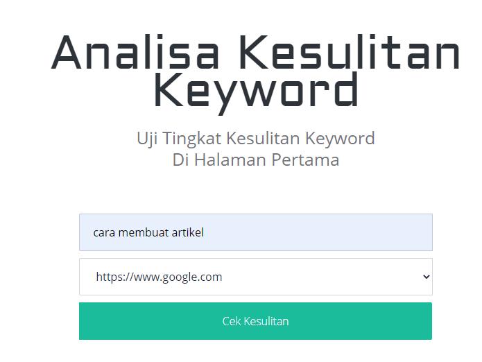 Tool Analisa Persaingan Keyword